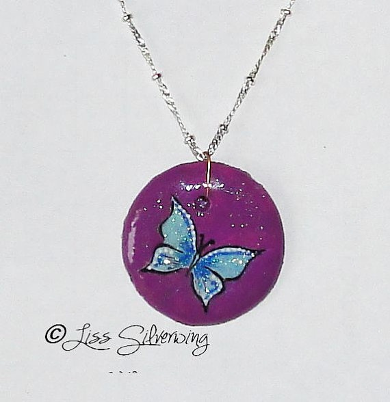 one of a kind shining purple blue butterfly by LissSilverwing, $20.00