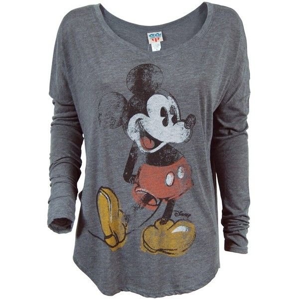 Junk Food Mickey Mouse Long Sleeve T Shirt Charcoal ($24) ❤ liked on Polyvore