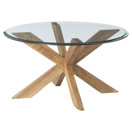 Coffee Table With A Geometric Wood Base And Glass Top Product Coffee