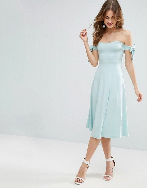ASOS | ASOS Bow Bardot Midi Skater Dress