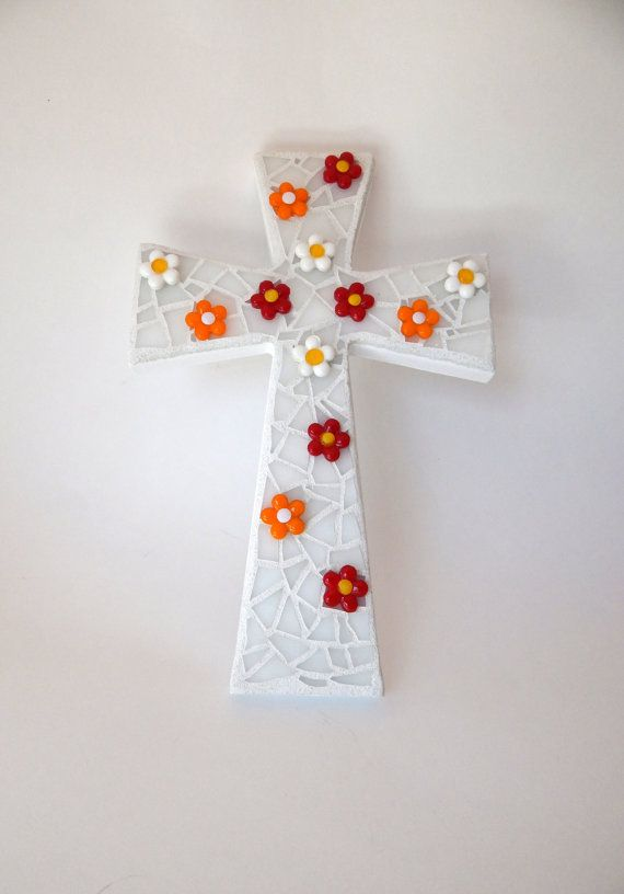 "Mosaic Wall Cross, White, ""3D"" Bright Glass Flowers, Handmade Stained Glass Mosaic Design 12"" x  8"" on Etsy, $45.00"
