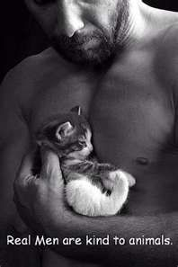 Real Man are kind to animals.: Cats, Animals, Real Man, Kitten, Men'S, Real Men, Things, Realmen, Kind
