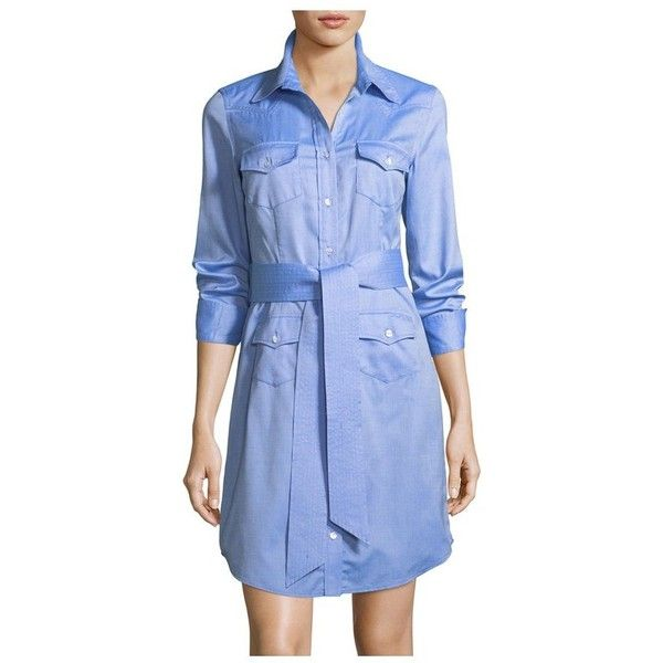 Milly West Oxford Shirting Dress featuring polyvore, women's fashion, clothing, dresses, blue, blue long sleeve dress, blue shift dress, long sleeve cotton dress, longsleeve dress and blue color dress