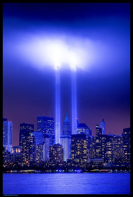 Memorial | Twin Towers of Light | from the New Jersey side of the Hudson River | Blue
