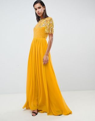 b5588f0369 Virgos Lounge rahaya contrast embellished maxi dress in mustard in ...