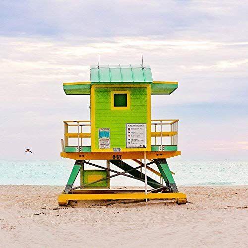 Green Lifeguard Stand Beach Hut Coastal Surf Photo Print Or Canvas
