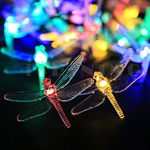 iShining Solar Powered Multi Color String Light 197Ft 6M 30 LED Dragonfly Fairy LED String Lights Waterproof for Outdoor Garden Fence Path Landscape Home Christmas Party Multi Color -- Check out the image by visiting the link.  This link participates in Amazon Service LLC Associates Program, a program designed to let participant earn advertising fees by advertising and linking to Amazon.com.