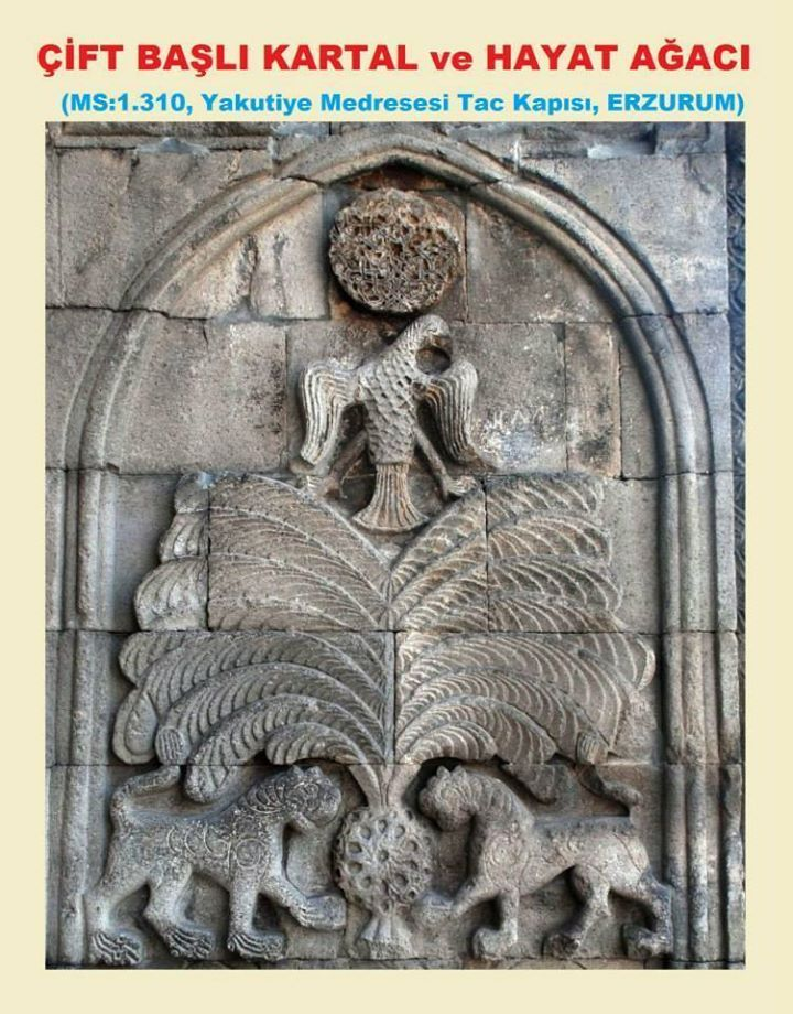 Çift Başlı Kartal ve Hayat Ağacı rölyefi, İlhanlılar zamanında yaptırılan medresenin taç kapısının yan tarafındadır. Çift Başlı Kartalın simetrik başlarından biri 1.Dünya Savaşı sırasında Rus askerleri tarafından kırılmıştır