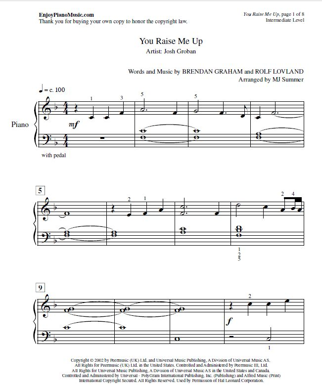 Rabiteman S Game Music Page: You Raise Me Up Sheet Music For Easy Piano--Listen