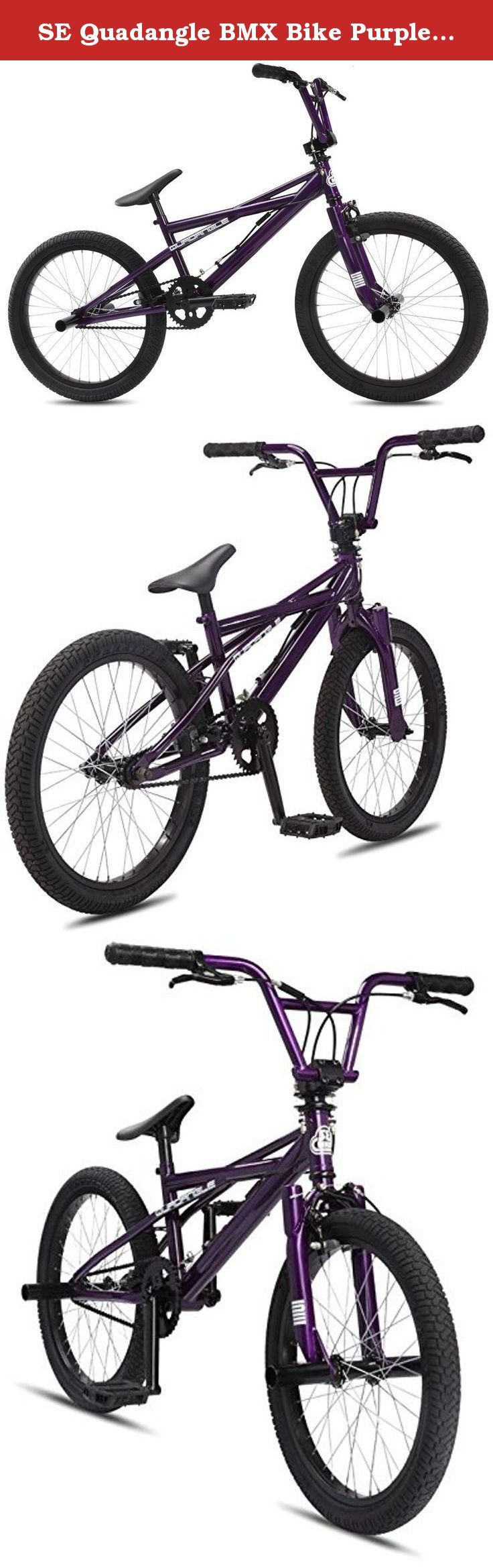 "SE Quadangle BMX Bike Purple Rain 20in Mens - '12. The Quadangle is designed for the beginning freestyle rider who wants a bike that doesn't look like all the other cookie-cutter bikes in the market. This bike has the unique Quadangle frame design, front & rear brakes, 4 pegs, 4-piece bars, and Standing Gear forks - all of the ""bells & whistles"" to catch the eye of the new freestyle rider. Key Features of the SE Quadangle BMX Bike 20in: COLOR(S) Purple Rain FRAME Quadangle Frame Design..."