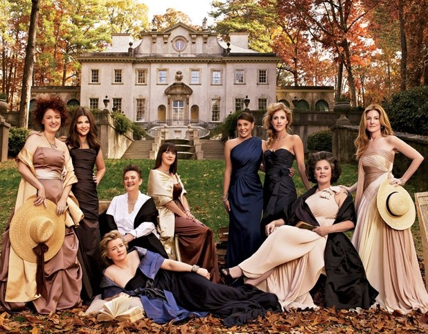 Contemporary Southern women writers - Sheri Joseph, Susan Rebecca White, Karin Slaughter (reclining), Amanda Gable, Joshilyn Jackson, Natasha Trethewey, Emily Giffin, Jessica Handler, and Kathryn Stockett, photographed at the Atlanta History Center's Swan House mansion, built in the 1920s.