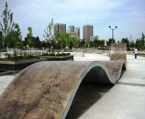 Fantastic skateboard ramp made of (what looks like) polished concrete