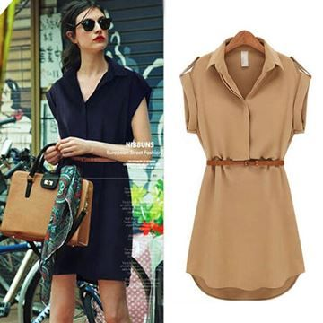 Show details for Short A-Line solid Plus Size chiffon casual dresses