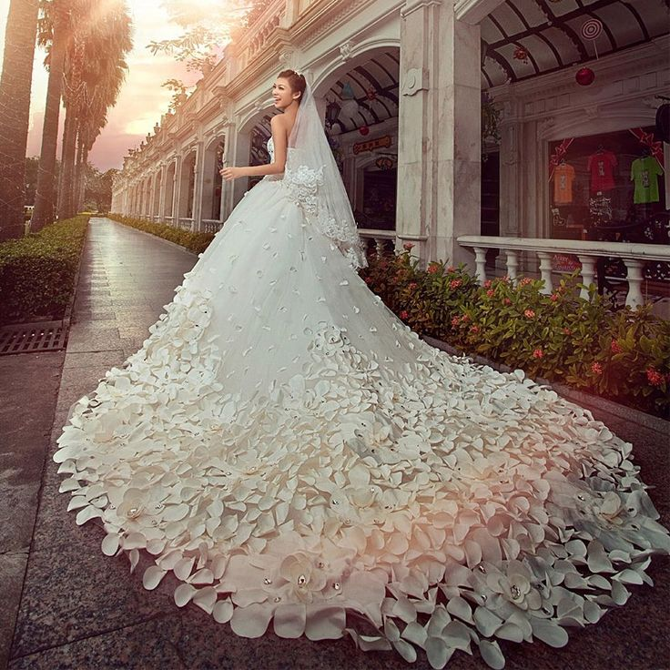 Attractive White color long wedding dress