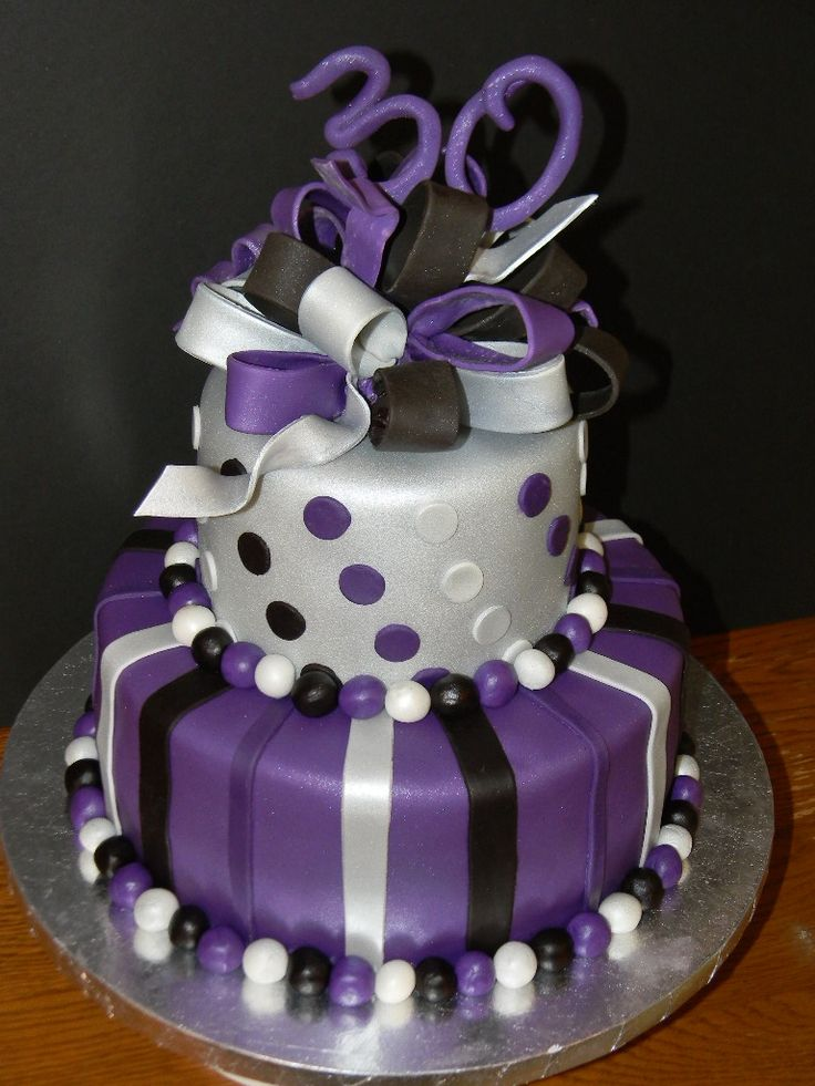 Purple, Silver and Black 30th Birthday - Cake was made for someone who loves purple. Strawberry cake with BC icing and fondant.