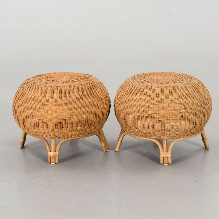 Pair of Mid 20th Century Scandinavian rounded stools or side tables made in bamboo and ...