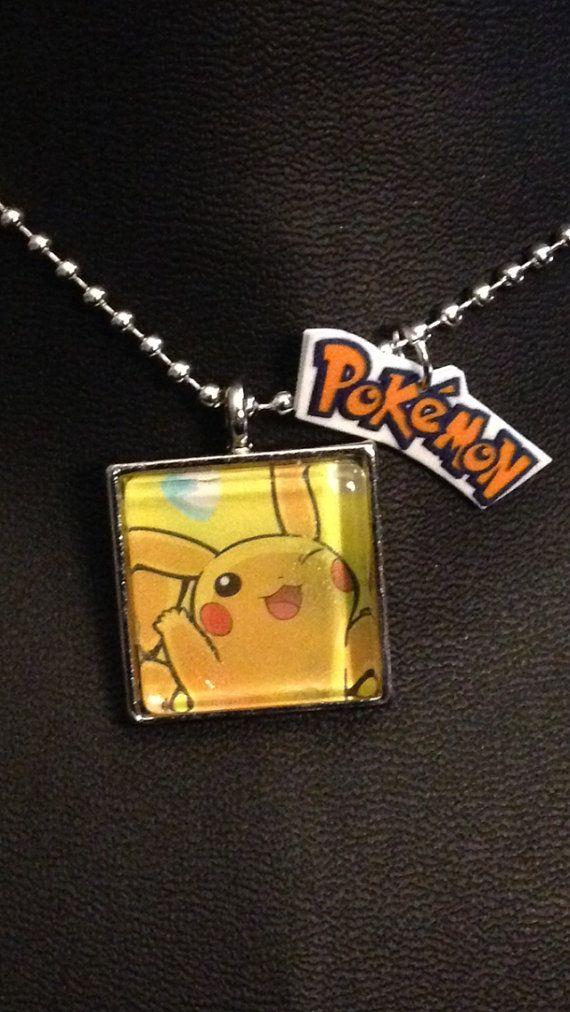 Pikachu Pokemon card necklace BONUS charm on Etsy, $12.00