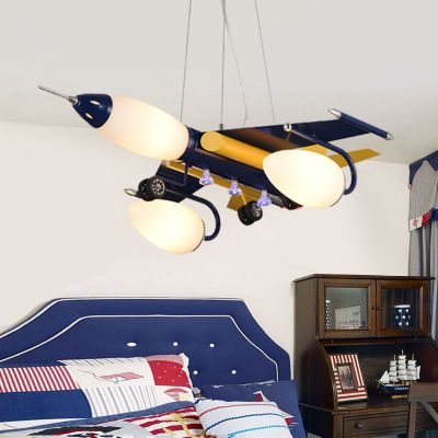 Modern Kids Room Lamps Iron Plane Glass Lampshade Pendant Lights Creative Children S Bedroom Lamps Rural Cartoon