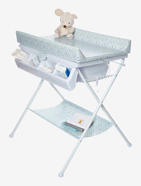 Table à langer pliable avec baignoire Magic tandem VERTBAUDET - Fond blanc imprimé etoiles - 1