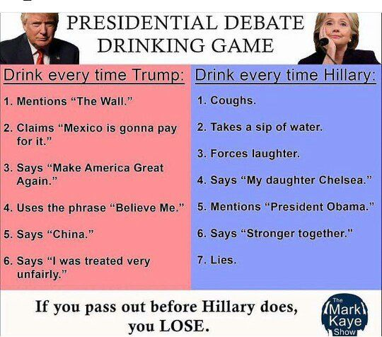 2016 Presidential Election Wine Humor - Debate Drinking Game www.sensiblewino.com