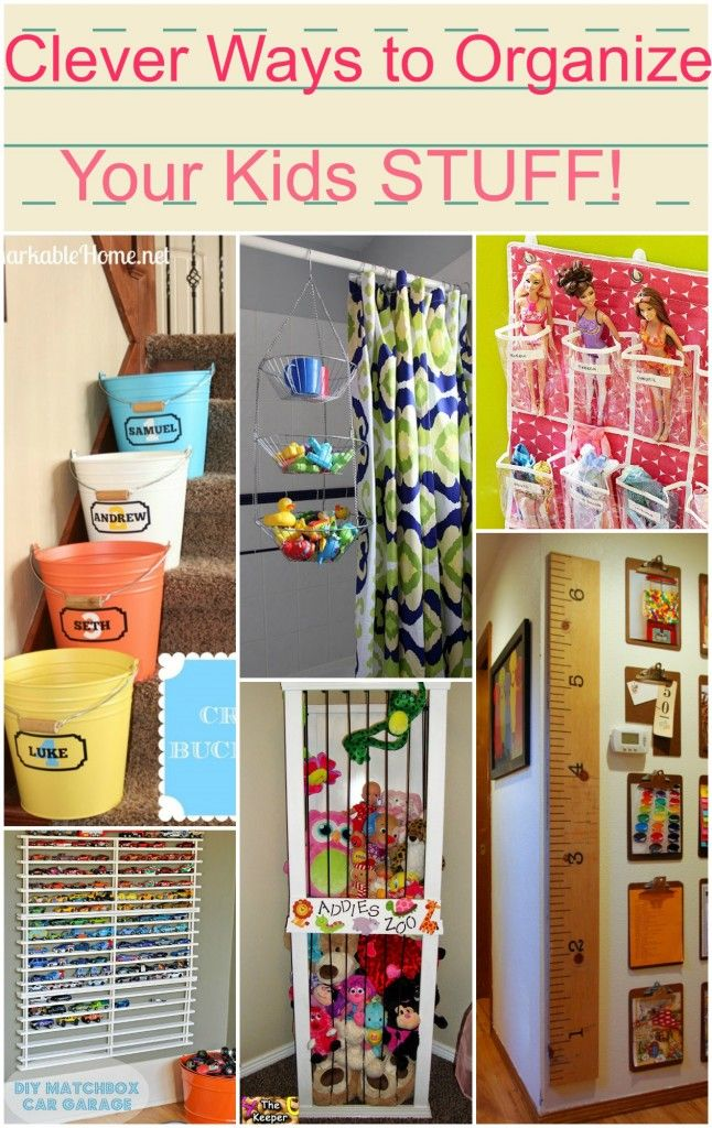 Clever ways to organize your kids stuff!! Organization tips and tricks.