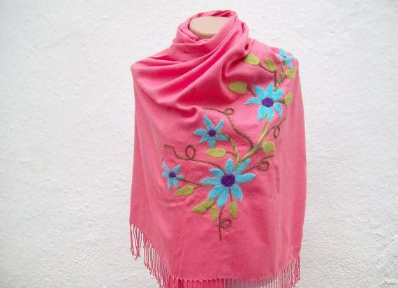 SALE 20  Was 50 Now 40Felted Flowered Scarf  Shawl Cotton by nurlu, $40.00