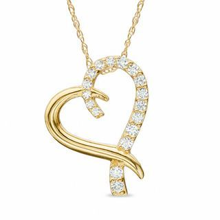 Cubic Zirconia Ribbon Heart Pendant in 10K Gold - 17"
