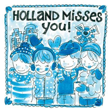 """Delftsblauwe winterkaart met """"Holland misses you"""".- Greetz"""