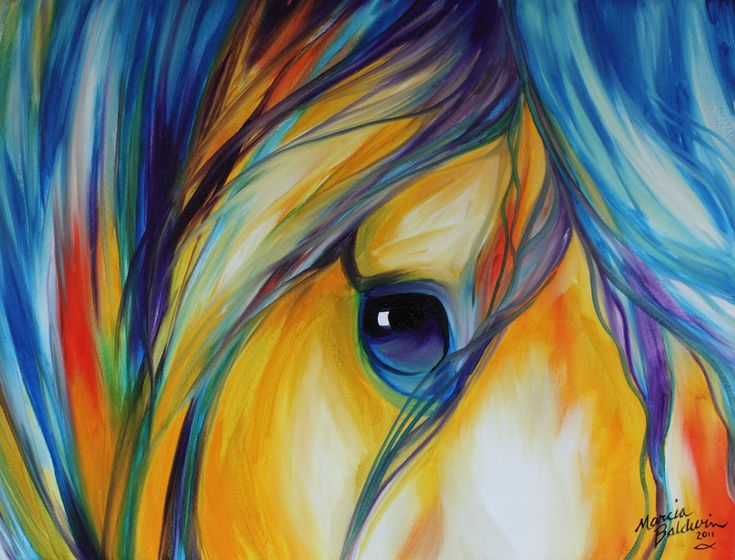 Horse Art Gallery: ABSTRACT EQUINE EYE of LOYALTY AND LOVE ~ AN ORIGINAL OIL PAINTING HORSE ART by MARCIA BALDWIN