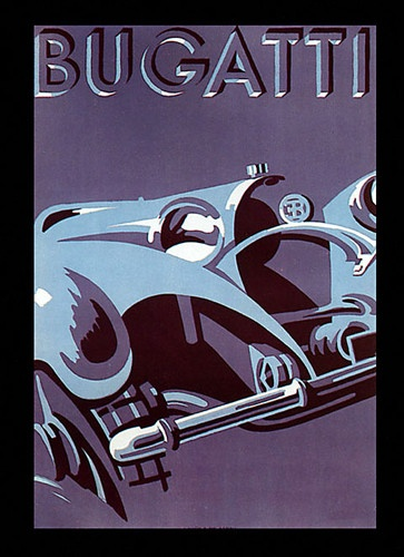 Fashion power bugatti chic car italy italia europe vintage poster repro free s h