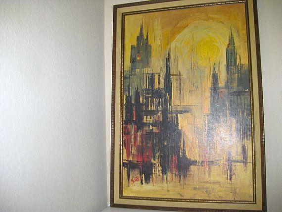 mid century lithograph print - daybreak - cityscape - reflective - signed montez