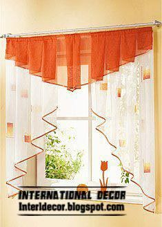 Small curtains models for kitchens in different colors