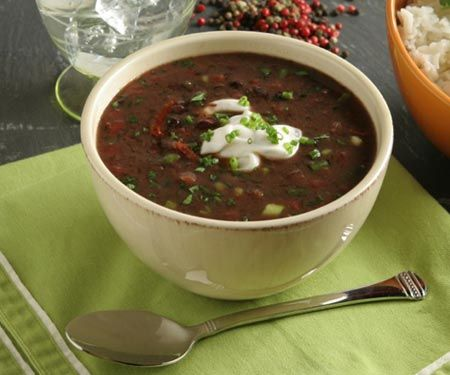 15 min black bean soup- 1/2 C chopped red onion, 2 tsp olive oil,1 tsp minced garlic, 3/4 tsp oregano, 3/4 tsp cumin (put all in a pan, saute 3 min.) Add 15 oz black beans, rinsed and drained and 2 C chicken broth. Cook 10 minutes, mash some of the beans against pan. Sprinkle with feta and cilantro. Enjoy