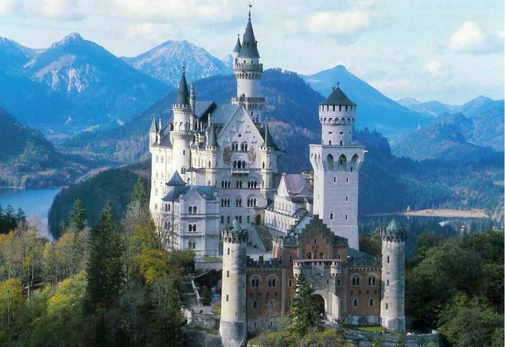 "Neuschwanstein castle. Neuschwanstein castle in Upper Bavaria (""Mad"" King Ludwig's unfinished fairy-tale castle....Not a very far walk from the Youth Hostel in Fussen, Germany / Bravaria)"