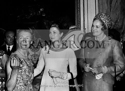 This is a Granger licensable image titled 'GRACE OF MONACO.  Baroness Seillere princess Grace of Monaco with the Begum (fourth and last wife of shah Aga Khan III) june 23, 1965 at charity ball. Full credit: AGIP - Rue des Archives / Granger, NYC -- All rights reserved. ' by GRANGER All rights reserved. You may not copy, publish, or use this image except for sample layout ('comp') use only. You must purchase the image from Granger in order to use it for ANY other purpose.