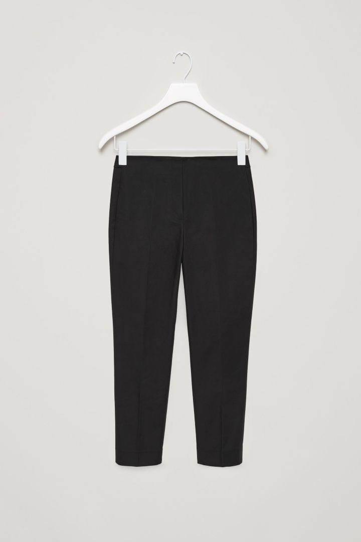 COS | Slim press fold trousers in Black
