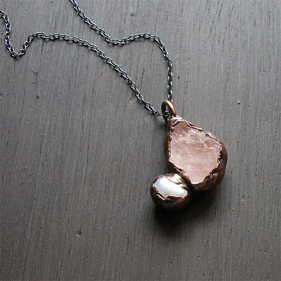 Morganite Raw Gemstone Pendant Pearl Pendant by MidwestAlchemy