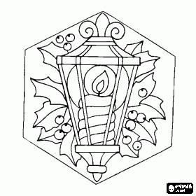 desenho de Lâmpada de Natal com  vela acesa e decoração de azevinho para colorir