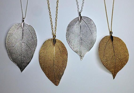 Real Leaf Necklace Gold Plated Sterling Silver Chain Necklace