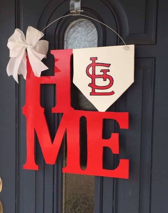 St Louis Cardinals HOME Door Hanger RED by WhimsEchols on Etsy