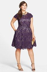 Eliza J Belted Lace Fit & Flare Dress (Plus Size)