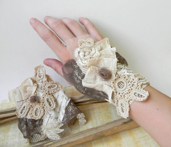 Victorian Wrist Cuffs Jane Austen Textile Cuffs, Whimsical Victorian Cuffs with Vintage Crochet Lace and Taupe Tulle Fabric Bracelets Cuffs