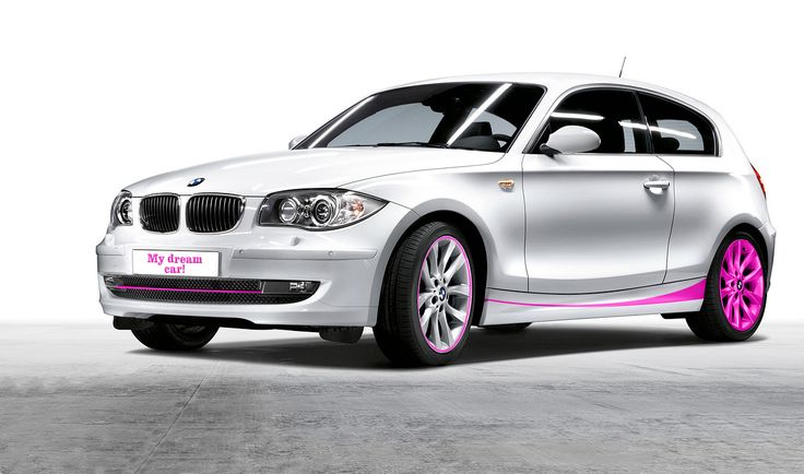 My Dream car - White BMW Series 1 with little pink accents.
