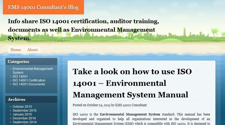 ISO 14001 is the environmental management system standard. This manual has been developed and organized to help all organizations interested in the development of an Environmental Management System (EMS) which is compatible with ISO 14001. It is designed to provide guidance on the intent of ISO 14001 EMS. EMS internal program developers should use this manual.