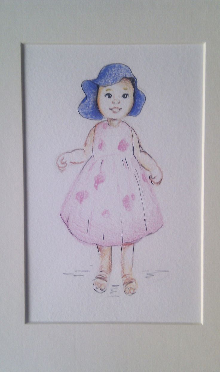 A5 Mounted Scribblat £20 of a little girl. We can create illustrations from babies up to adults and they can include names or quotes or little extras such as angel wings or stars.