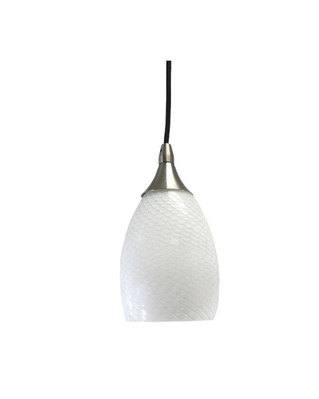 Epiphany Lighting PCP206 BN One Light Mini Pendant in Brushed Nickel Finish and White Ovation Glass | Quality Discount Lighting | cheap lights fixtures