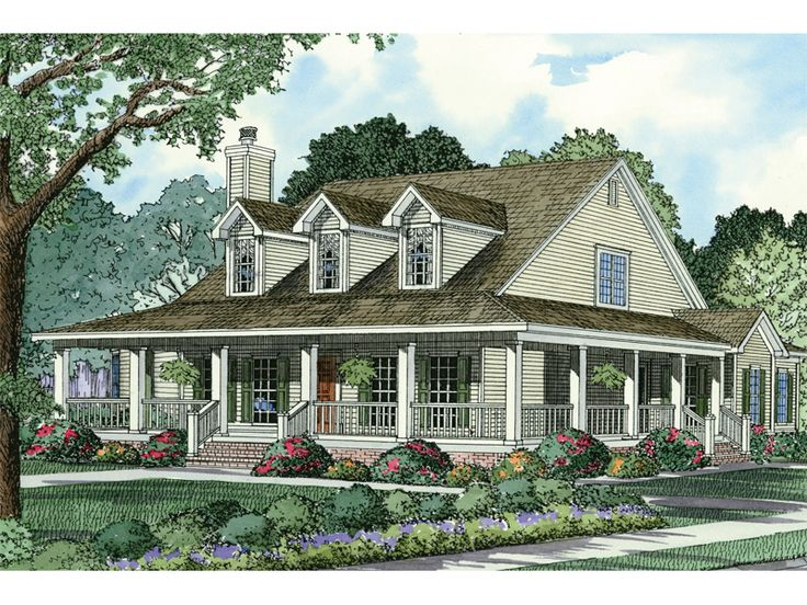 Casalone ridge ranch home house plans style and wraps for Country house with wrap around porch