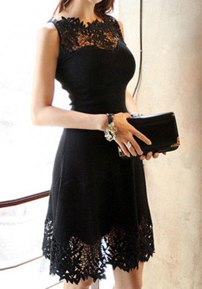 Negro remiendo del cordón Hueco-hacia fuera del cuello redondo mini vestido