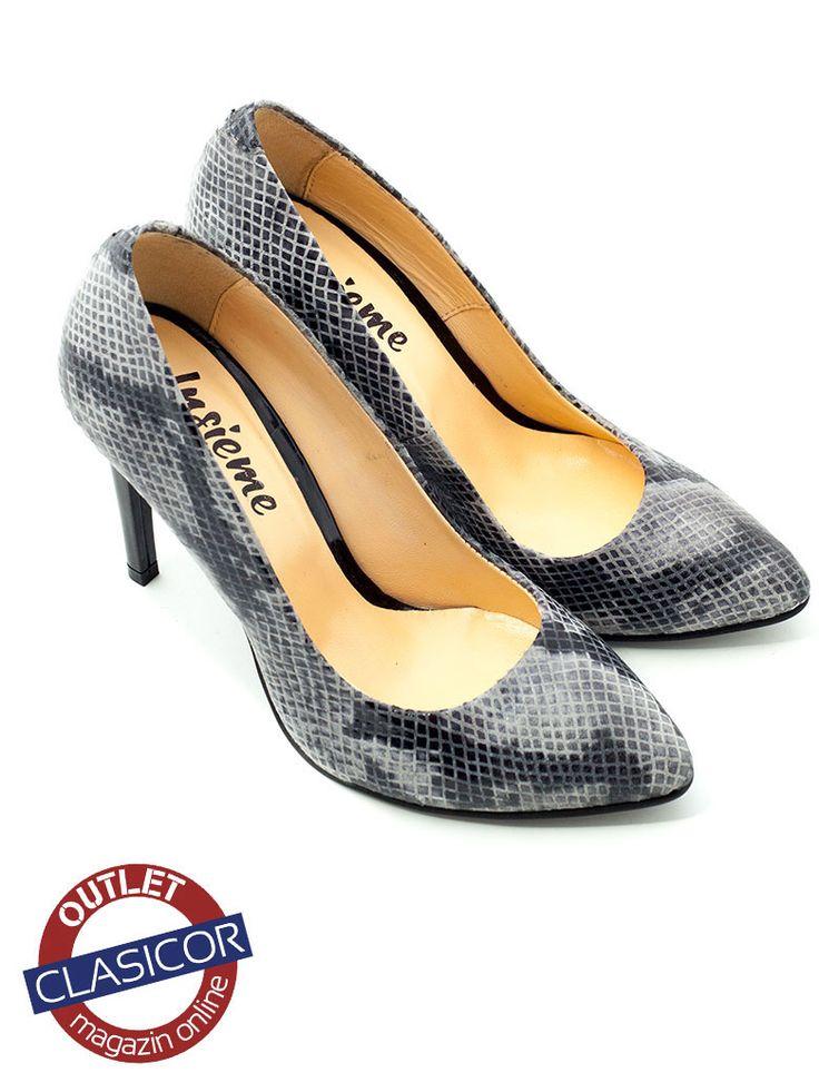 Pantofi stiletto din piele naturala, dama – 733 gri sarpe | Pantofi piele online / outlet incaltaminte piele | Clasicor