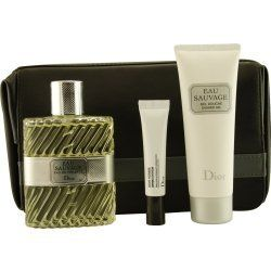 EAU SAUVAGE by Christian Dior Gift Set for MEN: EDT SPRAY 3.4 OZ & SHOWER GEL 2.5 OZ & DERMO SYSTEM .33 OZ & LEATHER TOILETRY BAG by Dior. $103.75. Design House: Christian Dior. Fragrance Notes: rosemary, lemon, citrus and basil, a popular fragrance for years.. Recommended Use: evening. EAU SAUVAGE by Christian Dior for MEN EDT SPRAY 3.4 OZ & SHOWER GEL 2.5 OZ & DERMO SYSTEM .33 OZ & LEATHER TOILETRY BAG Launched by the design house of Christian Dior in 1966, EAU SAUV...